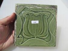 Antique Ceramic Tile Vintage Floral Flower Gilt Leaf Art Nouveau Vintage Old
