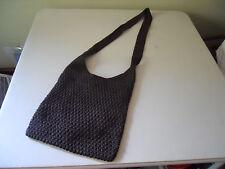 Womens Nylon Crochet Style Crossbody Purse Chocolate Brown Machine Washable!
