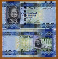 South Sudan, 100 Pounds, 2011, P-10a, AA-Prefix UNC > Lion