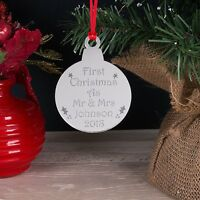 Personalised Mirror Our First Christmas As Mr & Mrs Xmas Tree Decoration Bauble