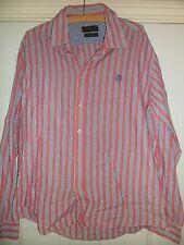 Mens Henri Lloyd Pink Striped Linen Blend Shirt Size XL Slim Fit