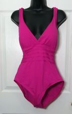 LA BLANCA Woman's Size 14 Pink Fuchsia One Piece Swimsuit Cross Over Back NEW