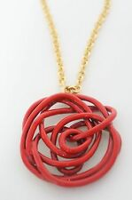 OSCAR DE LA RENTA Designer Gold-toned Chain White Wire Rose Pendant Necklace