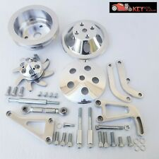 Small Block Chevy Polished Aluminum Bracket Amp Pulley Kit Long Water Pump 350 400