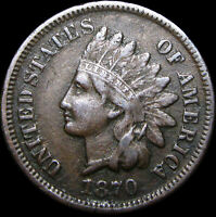 1870 Indian Cent Penny Type Coin ----  Pick Axe Variety ---- #B891