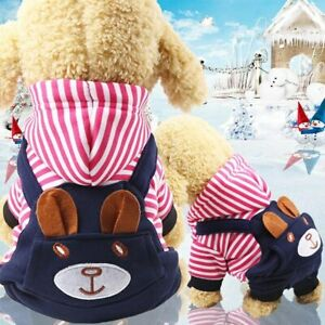 Coat Cotton Hooded Clothing Fleece Button Pet New Winter Warm Puppy Dog Clothes