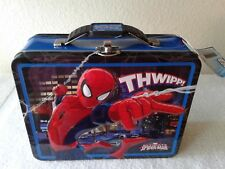 Marvel Ultimate Spiderman - 3D Embossed Blue Tin Carry All, Lunch Box #2 Thwipp!