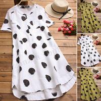 Plus Size Women Summer Sundress Polka Dot Asymmetrical Long Shirt Dress Blouse