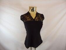 Women's REITMAN'S Black Petite Lace Panel Blouse Short Sleeve  Sz 6