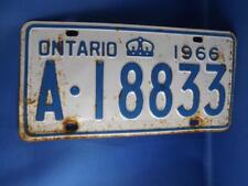 ONTARIO LICENSE PLATE 1966 A18833 CROWN VINTAGE CAR SHOP GARAGE  SIGN COLLECTOR