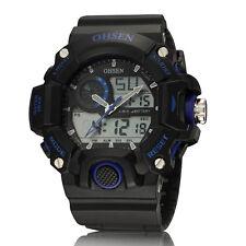 OHSEN Men's LCD Alarm Stopwatch Blue Waterproof Sport Digital Quartz WristWatch