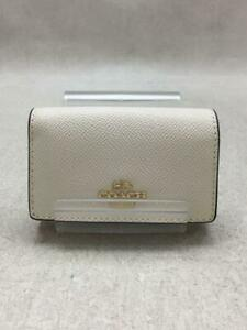 COACH  Leather F76741 Cross Grain Leather 5 Leather White Key case From Japan