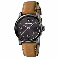 Wenger 01.1041.129 Gent's Black Dial Light Brown Strap Swiss Watch