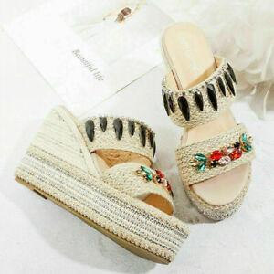 Fashion Lady Comfortable Sandals Rhinestone Accessories Platform Wedge High Heel