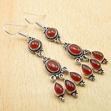 """Multi Gemstone RED Earrings, Real CARNELIAN Silver Plated LONG Jewelry 2.7"""""""