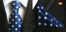 Blue and White Polka Dot Handmade 100% Silk Wedding Tie and Pocket Square Set
