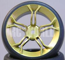 RC Car 1/10 DRIFT WHEELS TIRES Package 3MM Offset ALL GOLD 5 Star Burst