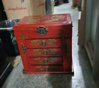 Collect Painted Dragon wood 4 layer drawer Large Jewellery Make-up box & Mirror