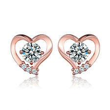 HUCHE Retro Rose Gold Filled Heart Design Diamond Clear Topaz Lady Party Earring