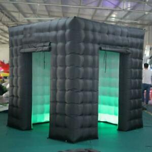 2.5M LED Inflatable Photo Booth Cube Black Air Tent for Wedding Events (2 doors)