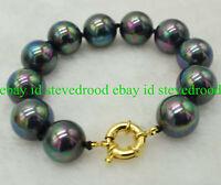 Natural 14mm South Sea Rainbow Black Shell Pearl Gemstone Bracelet 7.5'' AAA