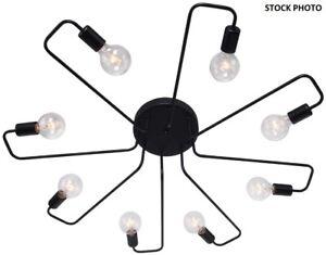 New Lingkai Vintage Chandelier Black Ceiling Light 8 Arm Semi-Flush Mount 033139