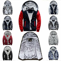 Men's Winter Hoodie Hairy Padded Hooded Sweatshirt Coat Jacket Outwear Sweater