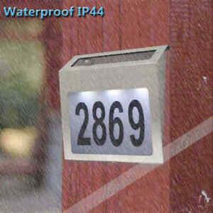 US Solar Power LED Light Sign House Street Door Address Plaque Number Plate Lamp
