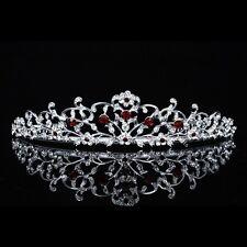 Floral Bridal Headpiece Red Rhinestone Crystal Prom Wedding Tiara V713