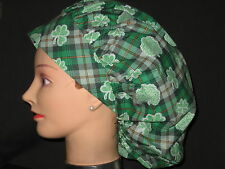 Surgical Scrub Hats Caps St.Patrick's Day Green Plaid with lacey Shamrocks