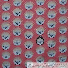 BonEful Fabric Fq Cotton Quilt Pink White Gold Metallic Hedgehog Mammal Pet Girl