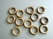 12 Wooden Curtain Pole Rings BN
