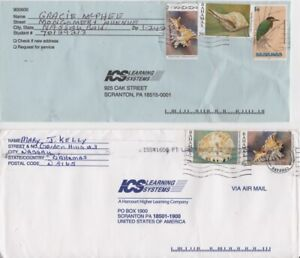 Bahamas -1991 Birds, 1997 Shells - Five Stamps on Two Commercial Covers