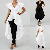 Women Ruffled Sleeve Irregular Shirt Evening Party Tunic Dress V Neck Blouse Top