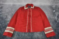Marc Jacobs Womens Beige Ribbon Accent Buttons Denim Jacket Size 4 Red
