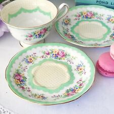 Royal Albert Prudence cup and saucer duo in green