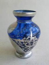 kleine alte Glasvase mit Silberlot Dekor Italien Gondeln Venedig 50er Jahre