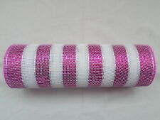 Pink and White Striped Deco Mesh 10 inches by 10 yards
