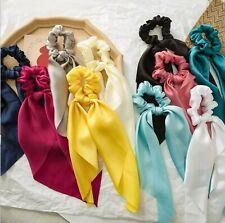1x Women Lady Girls Satin Silky Ribbon Bow Hair Up Tie Ponytail Scarf Scrunchies