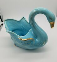 Vintage Royal Copley Aqua Blue Swan Planter trimmed in Gold