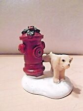 HOLIDAY TIME CHRISTMAS VILLAGE ACCESSORIES - DOG AT FIRE HYDRANT FIGURE