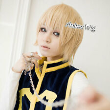 HUNTER X HUNTER Kurapika Blonde Short 30CM Layered Anime Cosplay Wig + Wig Cap