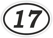 17 SEVENTEEN NUMBER OVAL STICKER bumper decal car motocross motorcycle Aufkleber