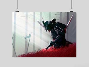 JAPANESE SAMURAI WARRIOR POSTER A4 SIZE KATANA SWORD FANTASY WALL ART BLOOD