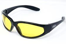 incassable jaune teinté Lunettes de soleil Moto UV400 motard + Pochette Gratuite