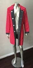 Polka Dot Reversible All Weather Nylon BLue Red White 3/4 Length Jacket Coat M