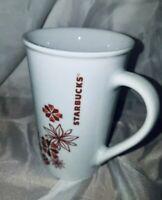 New Starbucks Holiday Poinsettia Snowflake Christmas Coffee Mug Red Gold 12 Oz