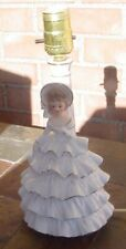 """Vintage Ceramic Lady Girl Lamp Southern Belle  Electric White & Gold 11"""" Japan"""