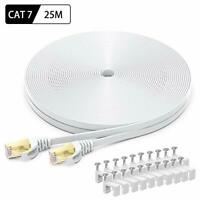 Cat7 Ethernet Cable 25m, BUSOHE High Speed Flat Gigabit RJ45 Lan Network Cable