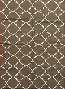 Brown Large Area Rug Floor Rustic carpet Wool Carpet Rug Grey Woven Rug Area